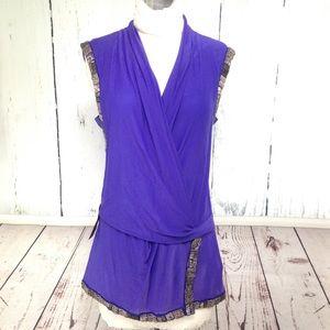 NWT Bebe Royal Purple Beaded Tunic Blouse